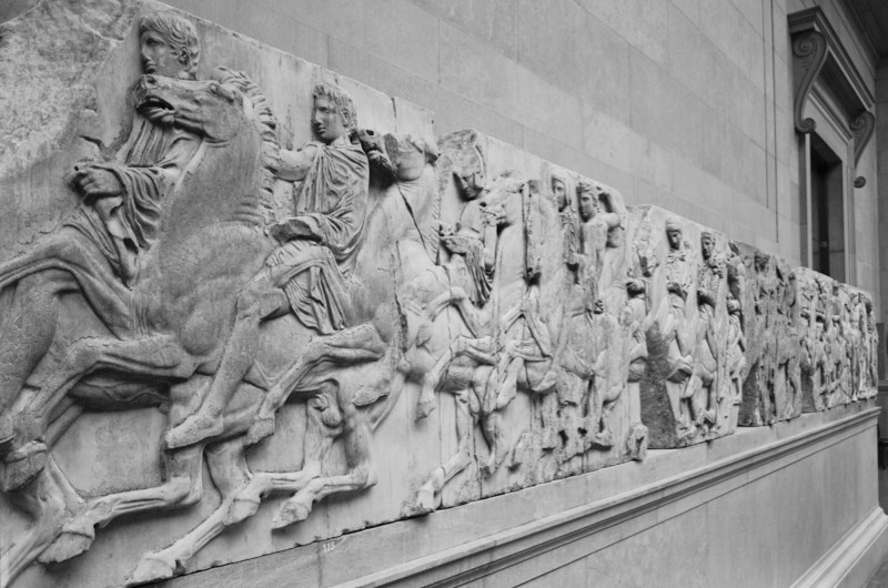 The Parthenon Sculptures, also known as the Elgin Marbles, on display at the British Museum. (Photo by Fox Photos/Hulton Archive/Getty Images)