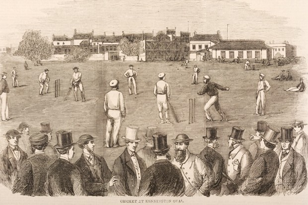 A 19th-century cricket match at the Kennington Oval. (Photo by Popperfoto/Getty Images)