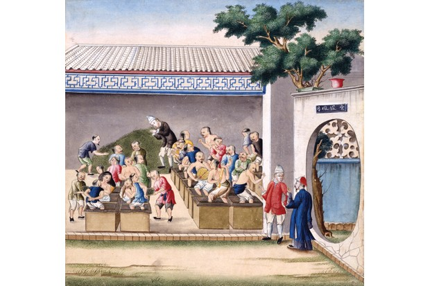 This 18th-century watercolour shows workers crushing tea in wooden crates in China, where the drink was first marketed and popularised. (Credit: V&A)
