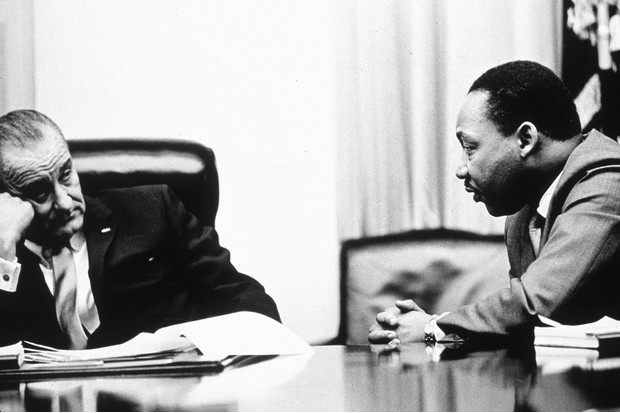 President Lyndon B Johnson in discussions with Martin Luther King, Jr in 1965. (Hulton Archive/Getty)