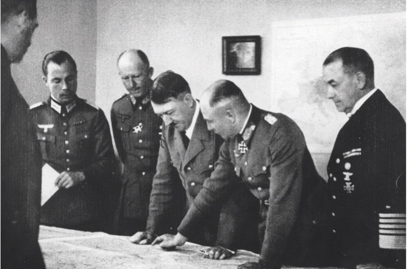 Calculated risk: Adolf Hitler makes plans at his headquarters in Bruly-de-Peche, Ardennes, Belgium. (Photo by Hulton Archive/Getty Images)