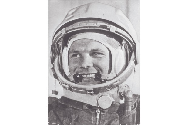 Soviet cosmonaut Yuri Gagarin wearing his helmet for the first ever manned flight in space. (Photo by Keystone/Getty Images)