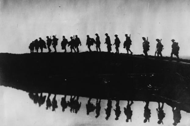 A silhouette of troops of the 1st Australian Division during the First World War.
