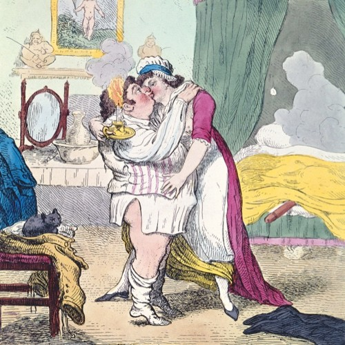 An 18th-century caricature of Whig politician Charles James Fox and his mistress, later wife, former courtesan Elizabeth Armistead. (Photo by Bridgeman)