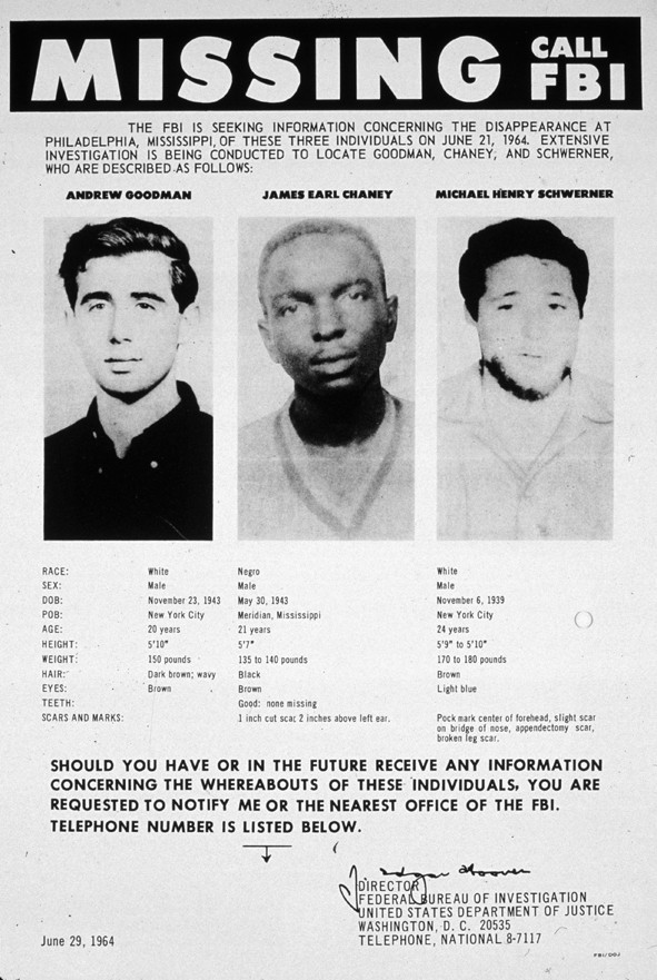 A 1964 poster seeking information on three missing civil rights activists. (Corbis)