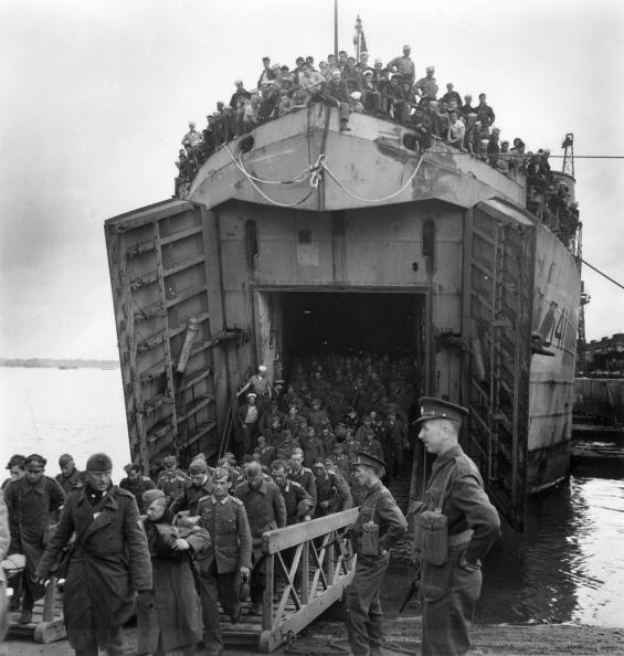 circa 1945:  A Landing Craft Tank carrying German prisoners of war arrives at a British port from France.  (Photo by Horace Abrahams/Keystone/Getty Images)