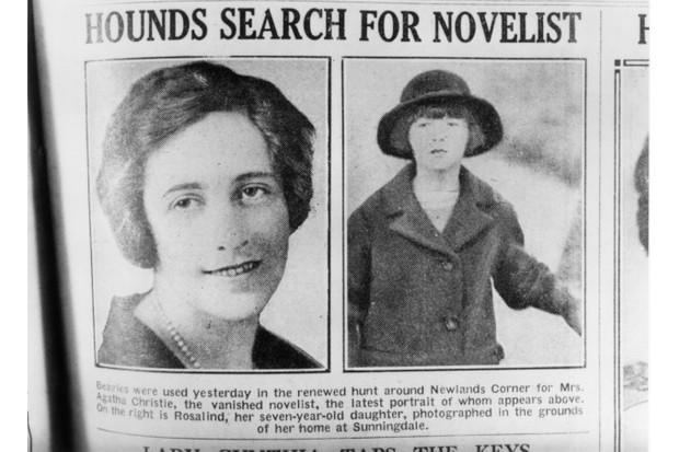 1926: English crime writer Agatha Christie and her daughter, Rosalind, are featured in a newspaper article reporting the mysterious disappearance of the novelist. (Photo by Hulton Archive/Getty Images)
