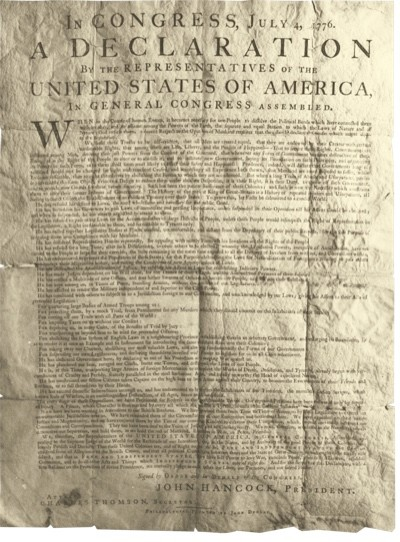 The Declaration of Independence. (Photo © Eileen Tweedy/Art Archive)