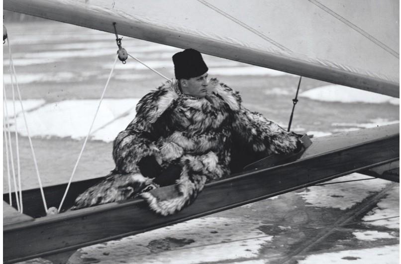 Crown Prince Olav on his ice yacht on Stora Värtan, Sweden, c1938. (Getty Images)