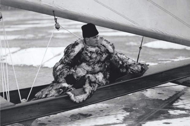 Crown Prince Olav on his ice yacht on Stora Värtan, Sweden, c1938. (Getty Images)