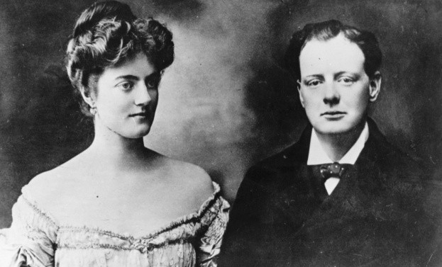 1908: Winston Churchill (1874-1965) with his fiancée Clementine, at the time of their engagement. (Photo by Hulton Archive/Getty Images)