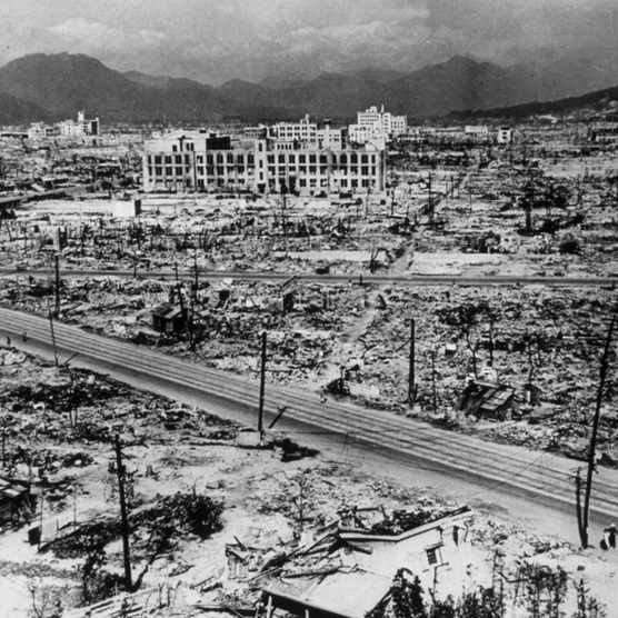 """Atomic bomb damage in the city of Hiroshima, 1945. The atomic bomb dropped on Hiroshima on 6 August 1945 """"razed and burnt around 70 per cent of all buildings"""", according to the International Campaign to Abolish Nuclear Weapons. (Photo by Hulton Archive/Getty Images)"""