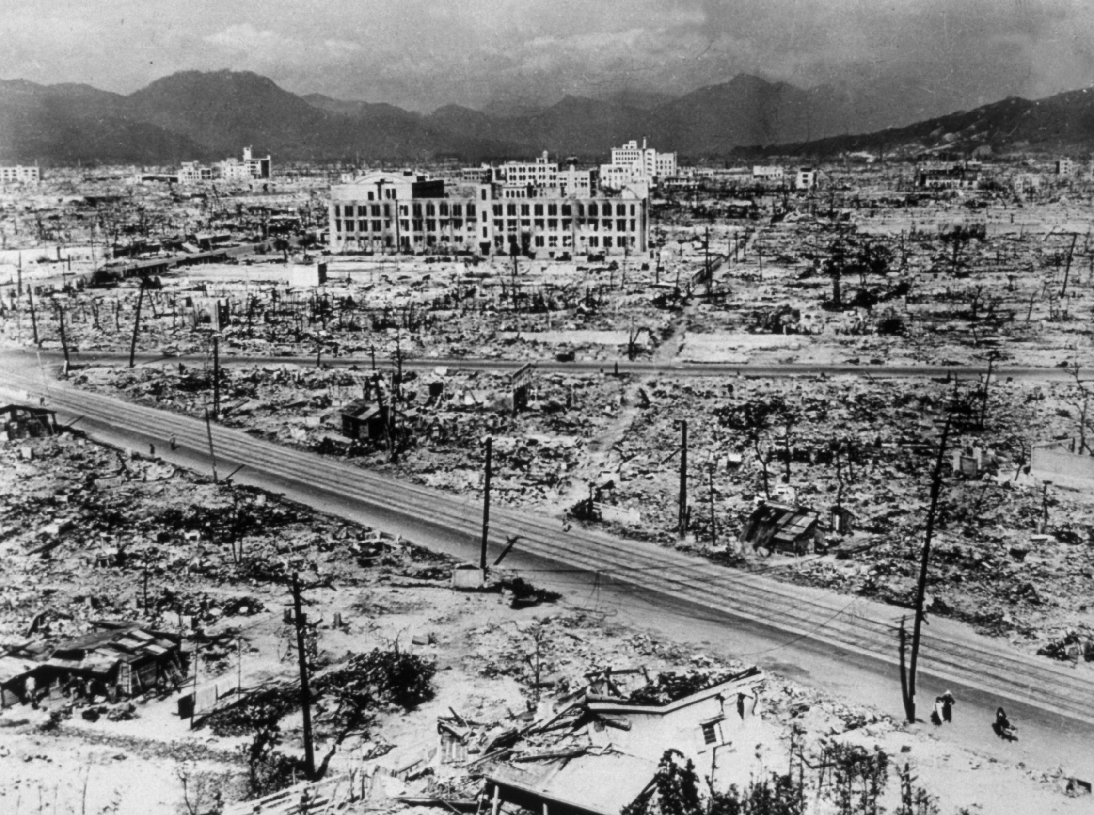 "Atomic bomb damage in the city of Hiroshima, 1945. The atomic bomb dropped on Hiroshima on 6 August 1945 ""razed and burnt around 70 per cent of all buildings"", according to the International Campaign to Abolish Nuclear Weapons. (Photo by Hulton Archive/Getty Images)"