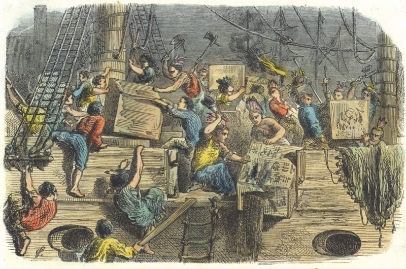 """Trouble brewing: This illustration shows """"Boston boys throwing tea into the harbour"""" on 16 December 1773. The protestors revelled in the opportunity to make a bold statement that would be felt across the world. (Getty images)"""