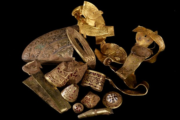 A selection of treasure from the Staffordshire Hoard.