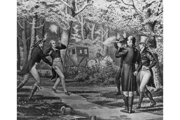 A painting of the Hamilton-Burr duel at Weehawken, New Jersey. (Credit: Library of Congress)