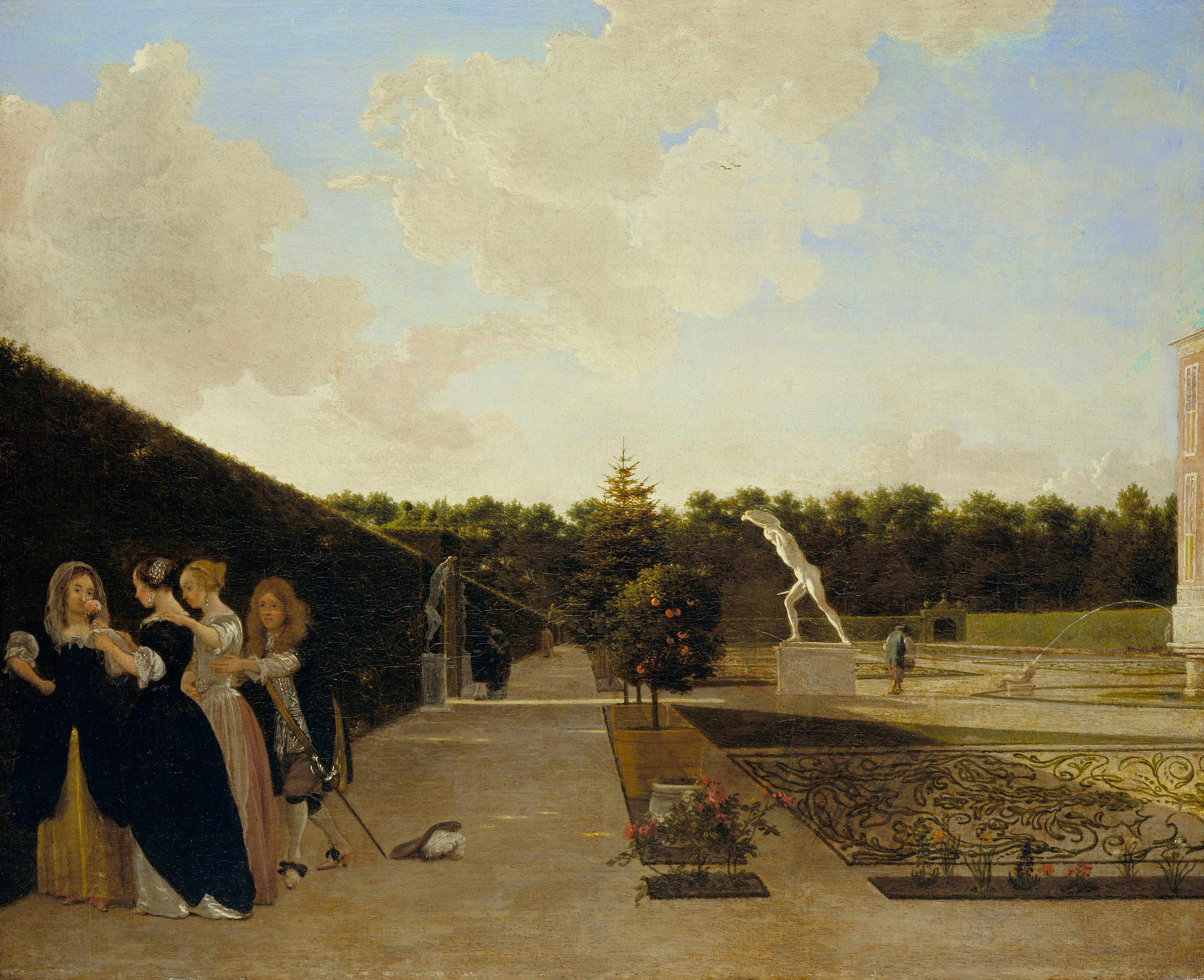 Ludolf de Jongh, 'A Formal Garden: Three Ladies Surprised by a Gentleman', c.1676