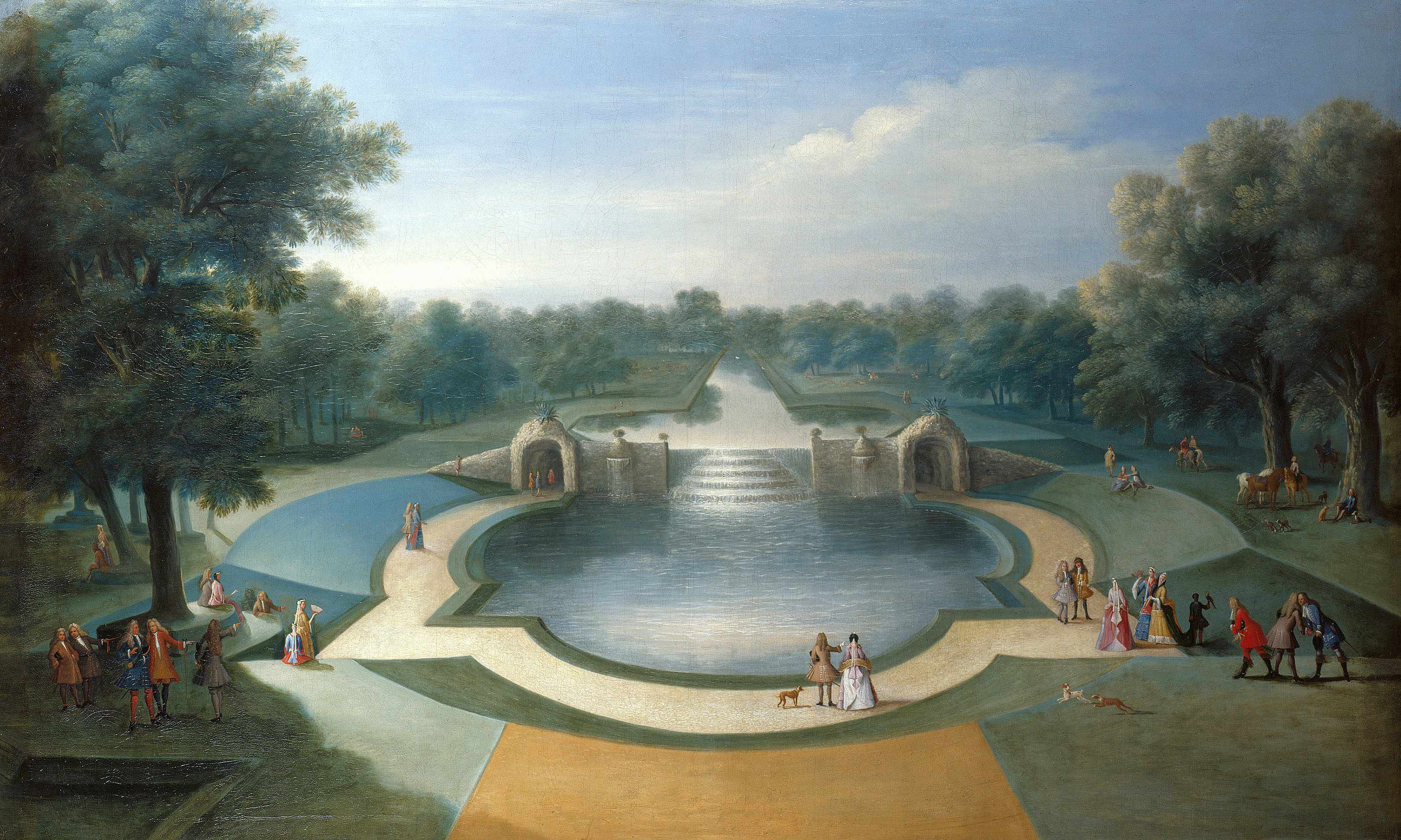Marco Ricci, A View of the Cascade, Bushy Park Water Gardens, c.1715.  Royal Collection Trust / copyright Her Majesty Queen Elizabeth II 2014   Single use only in relation to the exhibition 'Painting Paradise: The Art of the Garden' at The Queen's Gallery, Buckingham Palace. Photographs must not be archived or sold on.