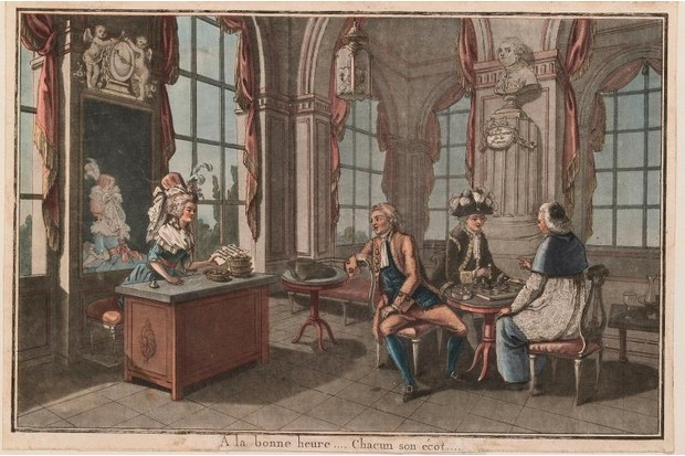 An 18th-century print from a collection of images about the French Revolution. This particular image shows Marie-Antoinette, the last queen of France before the French Revolution, with three men playing chess.