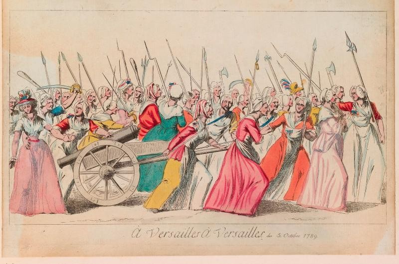 Print of the market women's march to Versailles. A large group of women carry axes, pikes, clubs, scythes, swords and firearms mounted with bayonets; in the centre, two women are towing a cannon. (The National Trust, Waddesdon Manor)