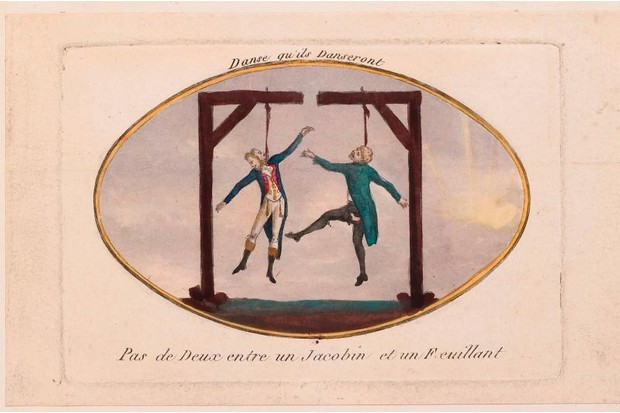 An 18th-century print from a collection of images about the French Revolution. This particular image shows to men being hanged.