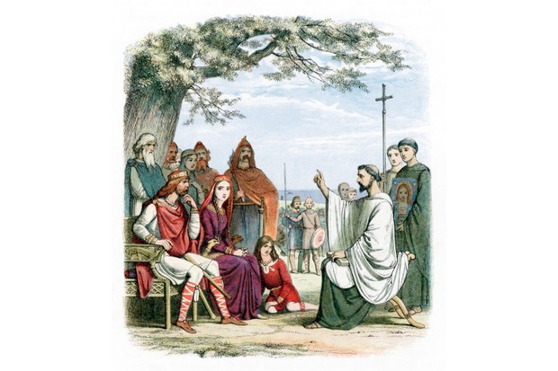 St Augustine of Canterbury, who was sent by Pope Gregory to convert the Anglo-Saxons to Christianity. St Augustine is seen here preaching before Ethelbert, Anglo-Saxon King of Kent. Augustine was the first Archbishop of Canterbury. (Photo by Ann Ronan Pictures/Print Collector/Getty Images)
