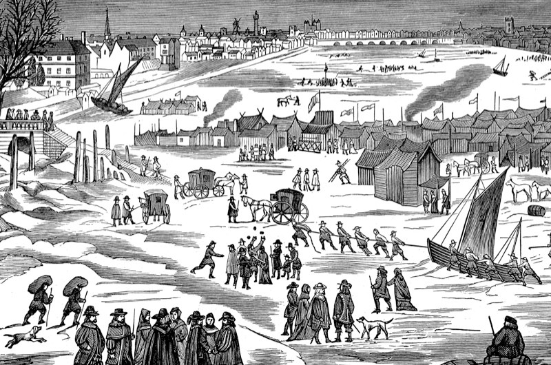 Engraving of frost fair on the frozen Thames, 1897. (Photo by Time Life Pictures/Mansell/The LIFE Picture Collection/Getty Images)