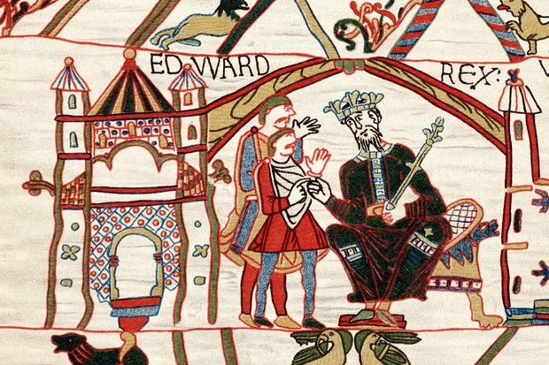 Edward the Confessor, the penultimate Anglo-Saxon king of England, depicted here in a scene from the Bayeux Tapestry. (Photo by Ann Ronan Pictures/Print Collector/Getty Images)