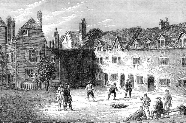 The Marshalsea prison, 1800. For more than 500 years (it closed in 1842) the prison housed London's trespassers, smugglers, mutineers and, most of all, its debtors. The length of their imprisonment was determined largely by the whim of their creditors.