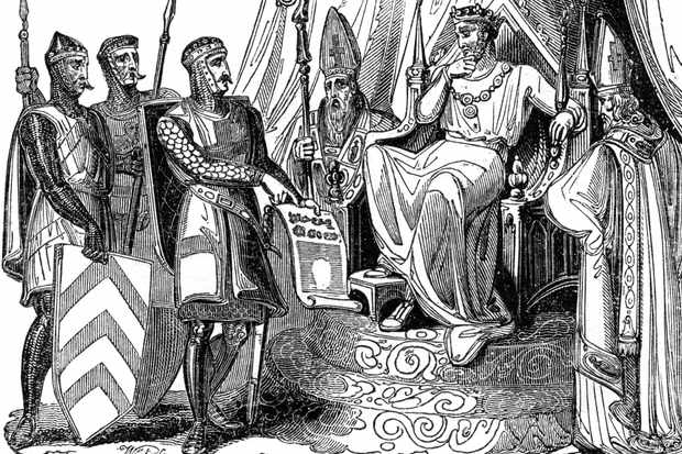 An illustration of the barons compelling King John to ratify Magna Carta, 1215. (Photo by The Print Collector/Print Collector/Getty Images)