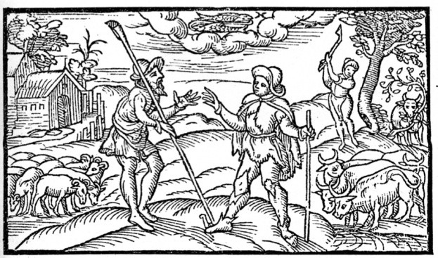 Illustration from Shepherd's Calendar, 1597, depicting farmers with their livestock. Taken from A Short History of the English People, by John Richard Green, illustrated edition, Volume II, Macmillan and Co, London, New York, 1893. (Photo by The Print Collector/Print Collector/Getty Images)
