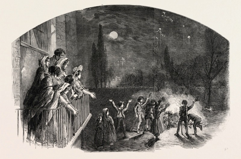 Fireworks on Guy Fawkes Day c1800. (Photo by Universal History Archive/UIG via Getty)
