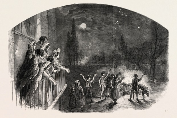 Fireworks on Guy Fawkes Day c1800