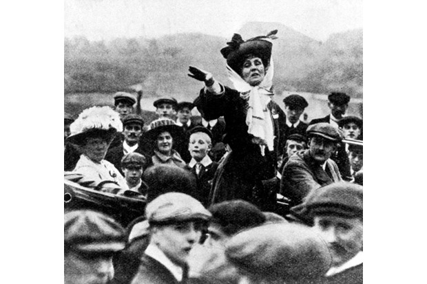 Emmeline Pankhurst, founder of the Women's Social and Political Union, delivers an open-air speech in 1908. (Photo by Getty Images)