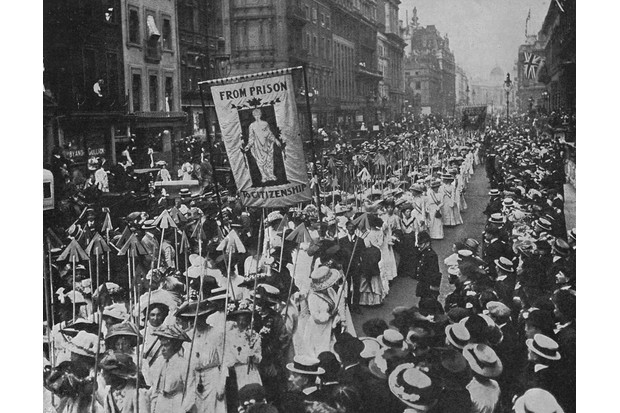 Suffragettes carrying 617 wands tipped with silver arrows in 1910. Each arrow represented the conviction of a suffragette. (Photo by Mary Evans)