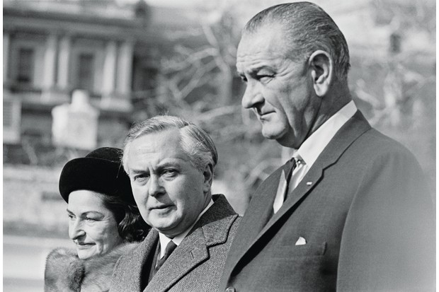 British Labour Party politician and Prime Minister, Harold Wilson with President Lyndon B Johnson