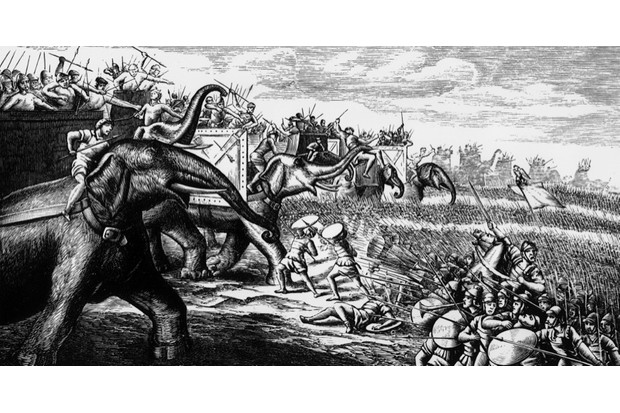 An 18th-century print of Hannibal's forces in 210 BC. (Hulton)