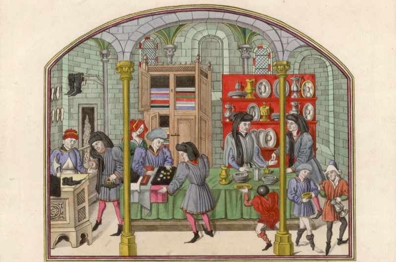 c1450: A French 15th-century covered market showing silversmiths, cobblers and drapers selling their wares. Original artist: Bibliotheque de la Ville de Rouen. (Photo by Hulton Archive/Getty Images)