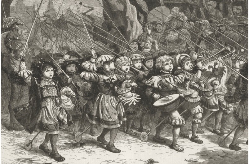 1212, A group of children, known as the Cockhorse Regiment, who took part in the children's crusade of 1212. (Photo by Hulton Archive/Getty Images)