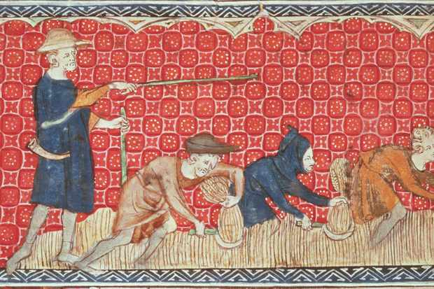 BL52779 Roy 2 B VII f.78 Reaping corn harvest in August, from the Queen Mary Psalter, c.1310-20 (vellum) by English School, (14th century); British Library, London, UK; © British Library Board. All Rights Reserved; PERMISSION REQUIRED FOR NON EDITORIAL USAGE; English,  out of copyright  PLEASE NOTE: The Bridgeman Art Library works with the owner of this image to clear permission. If you wish to reproduce this image, please inform us so we can clear permission for you.