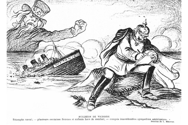 As the sea claims the Lusitania and Uncle Sam shakes his fist in rage, a smiling Kaiser Wilhelm II writes a letter of condolence to the Americans in a cartoon that appeared in the French magazine Le Rire on 22 May 1915. (© Getty)