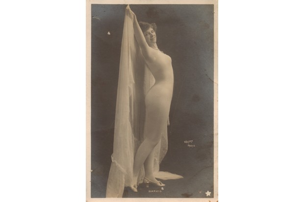A woman photographed in a body stocking, early 20th century