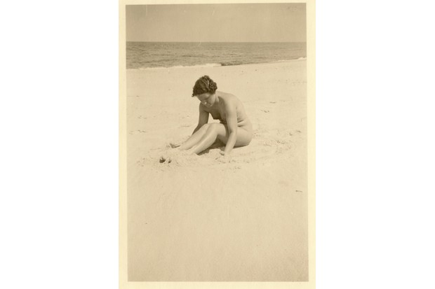A nude woman on a beach, probably produced in Germany in the 1920s