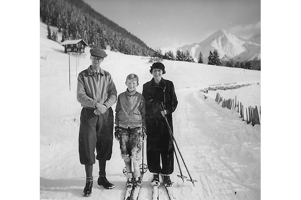 A family skiing in Switzerland, 1938