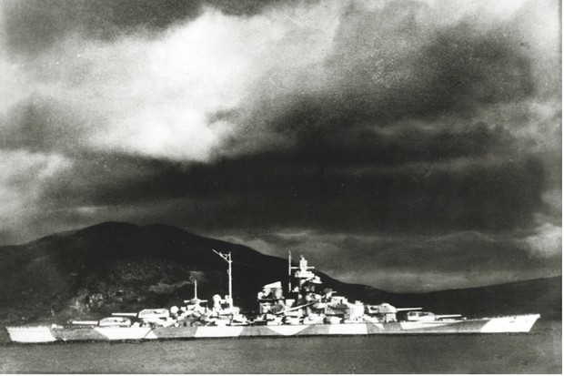 "'Tirpitz' hiding in a Norwegian fjord in 1942. ""She outclassed anything in the British fleet,"" says Patrick Bishop. (Getty Images)"