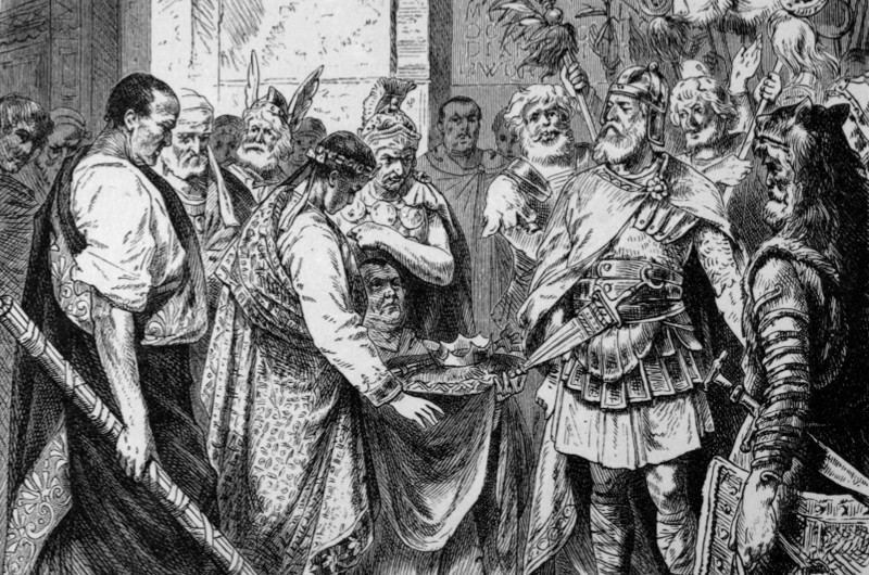 Ancient History Illustration. pic: circa 470 AD. This illustration is entitled Odoacer compels Augustulus to yield the crown. Odoacer became King of Italy in 476 AD after forcing Romulus Augustulus to give up the crown.