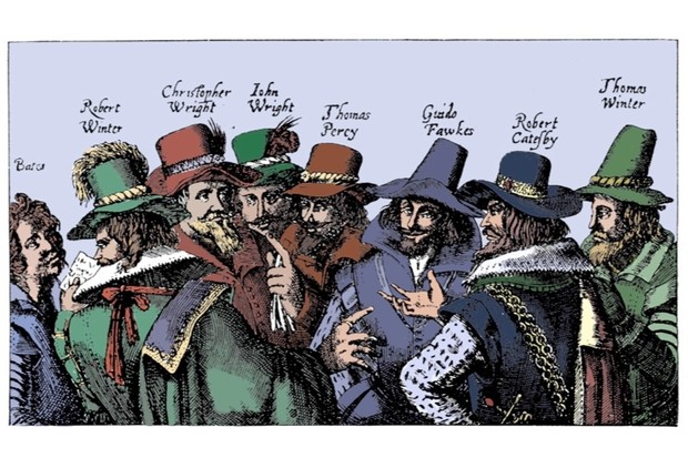 Guy Fawkes and the men behind the gunpowder plot. Guy Fawkes, best known of the conspirators, is third from the right. (Print Collector/Getty Images)