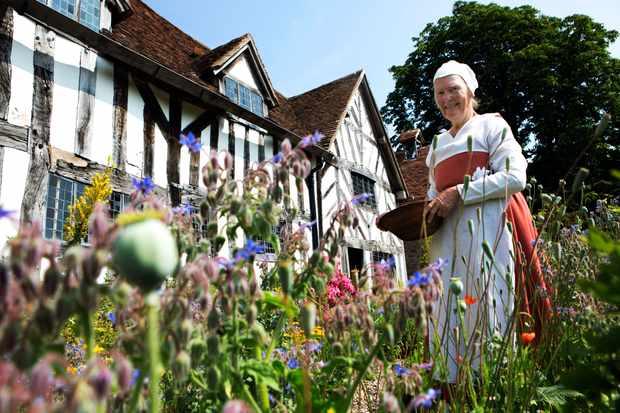 Programme Name: Shakespeare's Mother: The Secret Life of a Tudor Woman - TX: 12/02/2015 - Episode: Shakespeare's Mother: The Secret Life of a Tudor Woman (No. n/a) - Picture Shows: Palmer's Cottage at Mary Arden's Farm  - (C) Mischa Haller 2013/ Shakespeare Birthplace Trust - Photographer: -