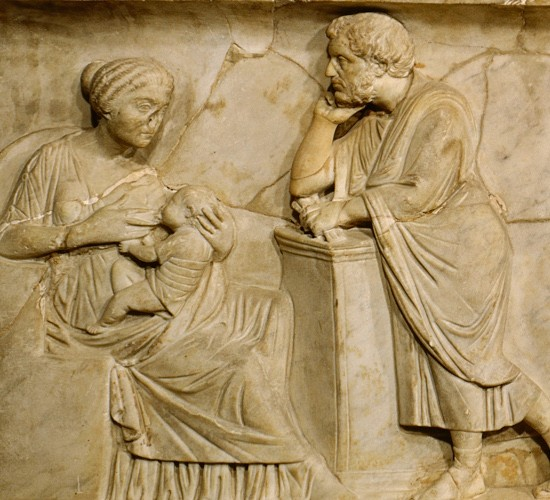 A relief from a second- century AD sarcophagus portrays breastfeeding. (Photo by Louvre/RMN photo agency)