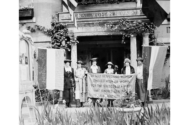 American suffragettes picket a building bearing the name of the National Woman's Party, c1900. (Getty images)